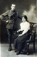 F112 Unamed soldier, Royal Artillery, and wife, Teeside and Tyneside studio