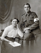 F098 Unnamed soldier,Royal Army Medical Corps and lady, south Lancashire studio
