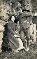 F100 Unnamed soldier, Army Service Corps, and lady, by W.M. Jones, Coleford, Bath.jpg