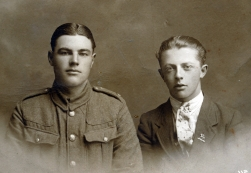 F134 Unnamed soldier and pal, Royal West Surrey Regiment badge.