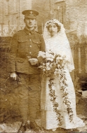 F020 Unnamed soldier and bride, East Surrey Regiment
