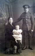 F164 George, West Yorkshire Regiment, Phyllis, and child, J Hodgson Studio, Liversedge. Courtesy of Paul Hughes.