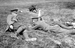 G059 Major Arnott, Capt Bostock, Capt Wayman,14th Btn, Northumberland Fusiliers, having an easy