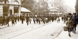 U038 Unit parading, German city, Prinz's Platz, perhaps Royal Engineers