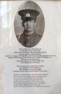 A409 Frederick Charles Bowkett, 10th Battalion, Gloucestershire Regiment, killed 13 October 1915. Courtesy of Paul Hughes.