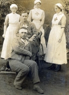 W073 Nurses and wounded soldiers, W. Howard studio, Stockport
