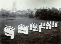 WO91 Cheltenham Ladies College nurses, stretcher drill. Courtesy of Cheltenham Ladies College Archive.
