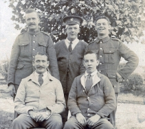 W012 Wounded group, including Northumberland Fusilier with Royal Army Medical Corps